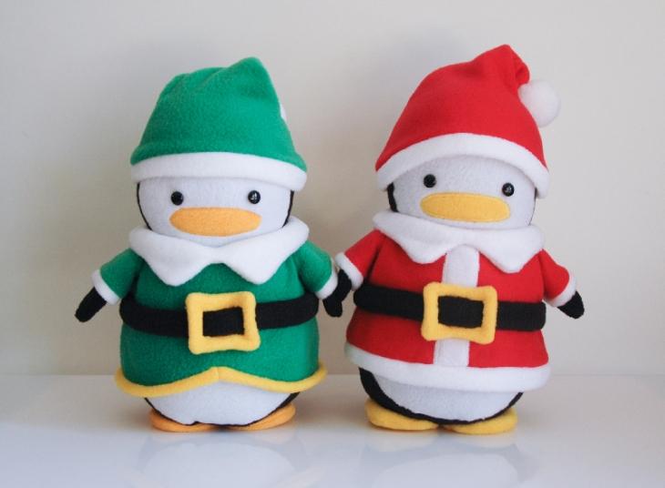 Santa Penguin and Elf Penguin