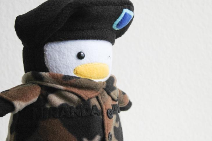 Winking Army Penguin