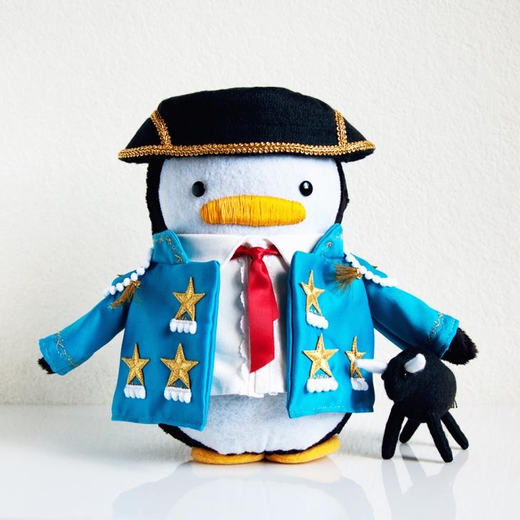 Matador Penguin with Bull Plush